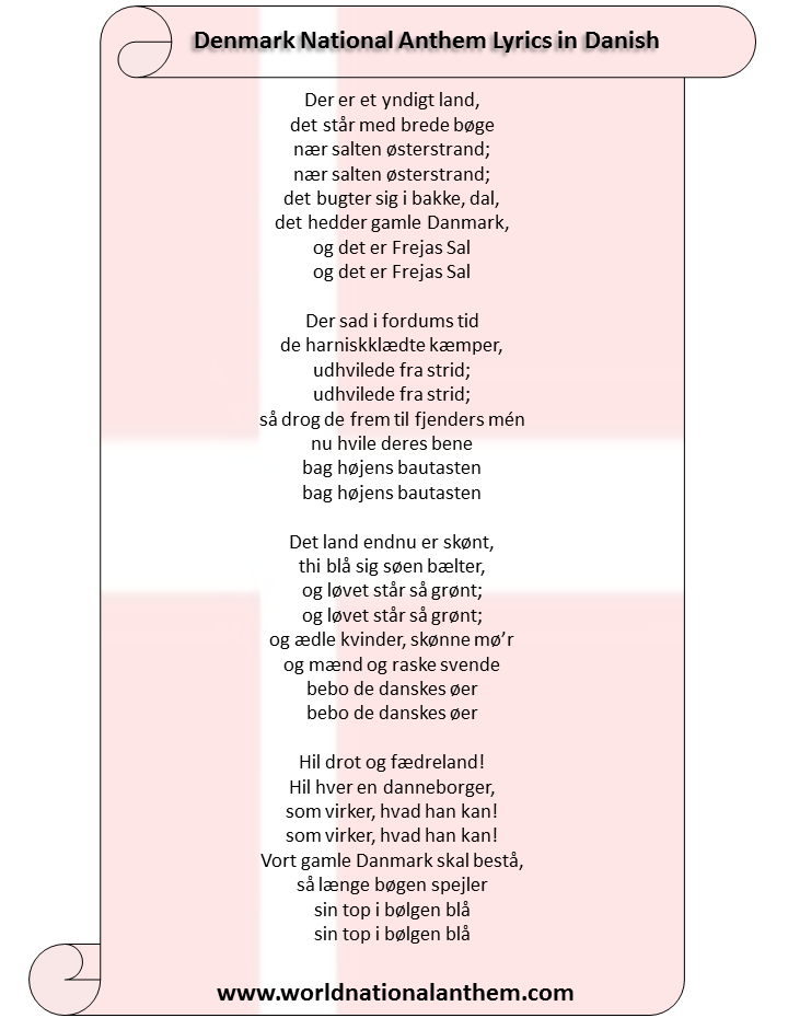 Denmark National Anthem Lyrics in Danish