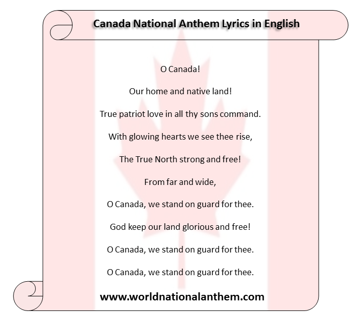Canada National Anthem Lyrics in English