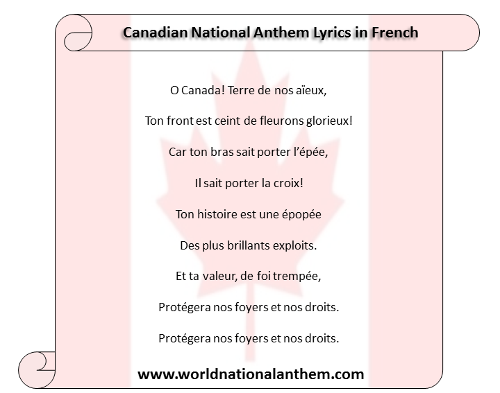 Canadian National Anthem Lyrics in French