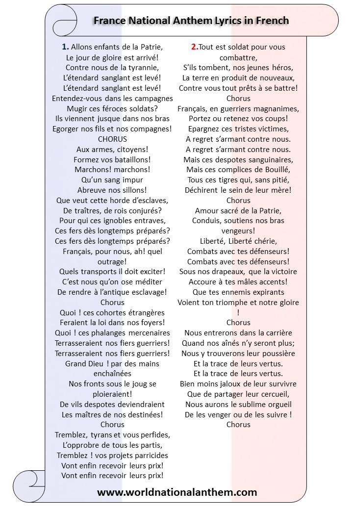 France National Anthem Lyrics in French
