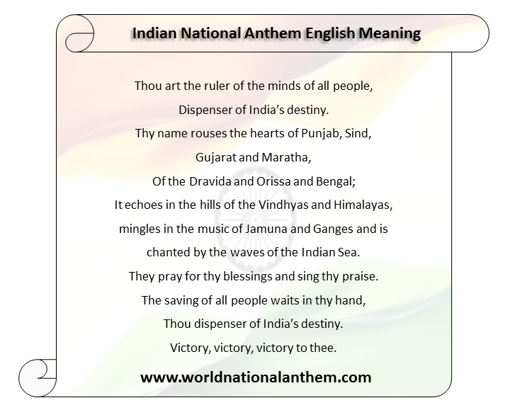 Indian National Anthem English Meaning