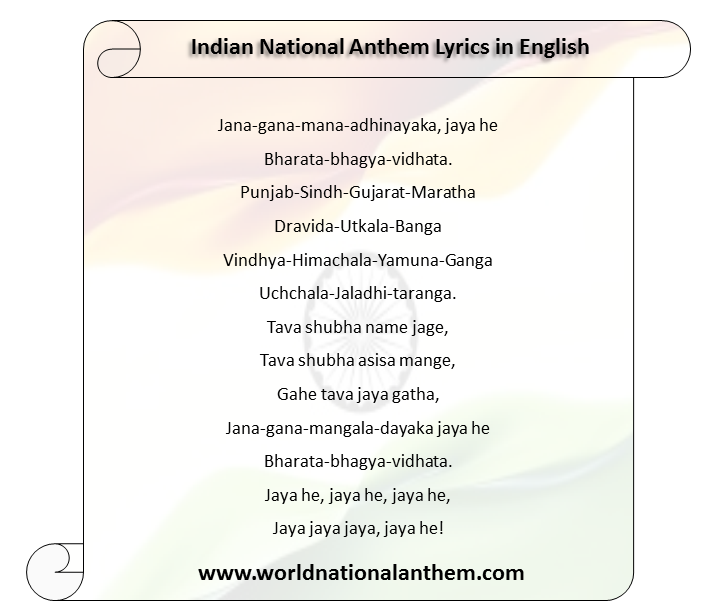 Indian National Anthem Lyrics in English