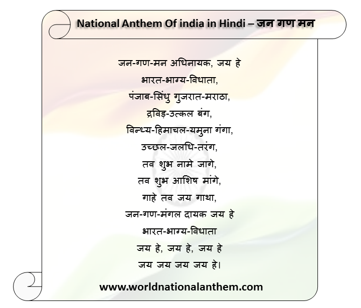 National Anthem Of india in Hindi – जन गण मन