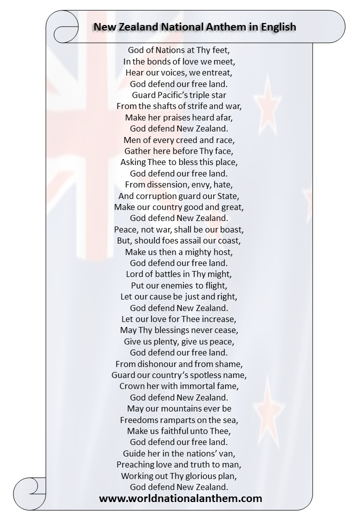 New Zealand National Anthem Lyrics in English