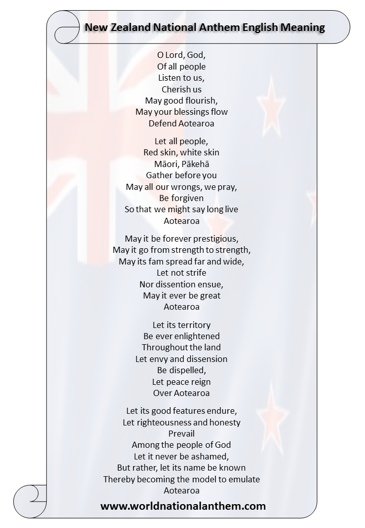 New Zealand National Anthem lyrics English Meaning