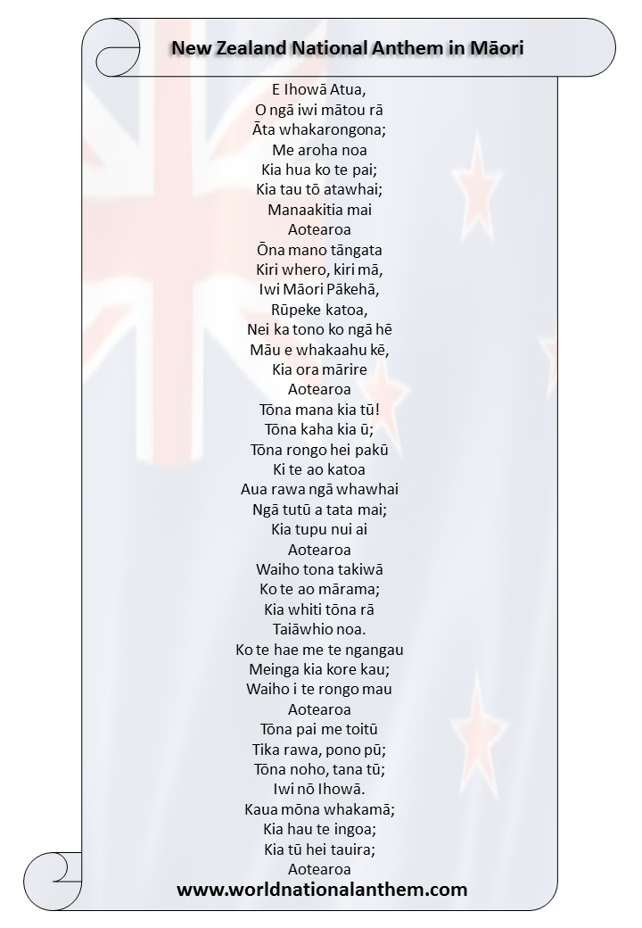 New Zealand National Anthem lyrics in Māori