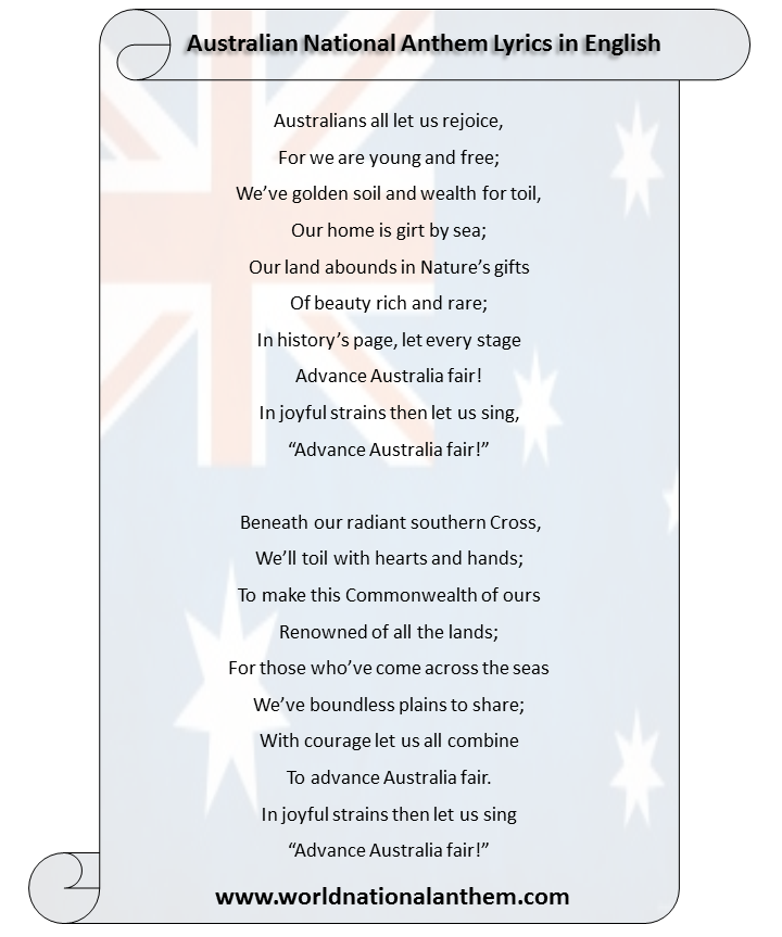 australian national anthem lyrics in english language