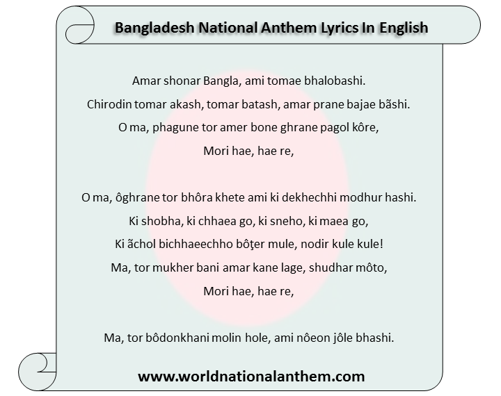 National Anthem Of Bangladesh Amar Shonar bangla
